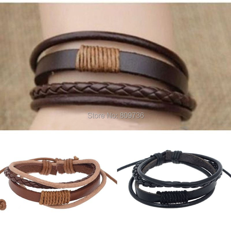 Fashion Mens Punk Handmade Black Brown Leather Surfer Braided Wristband Bracelet Charm Jewelry Gift Wholesale