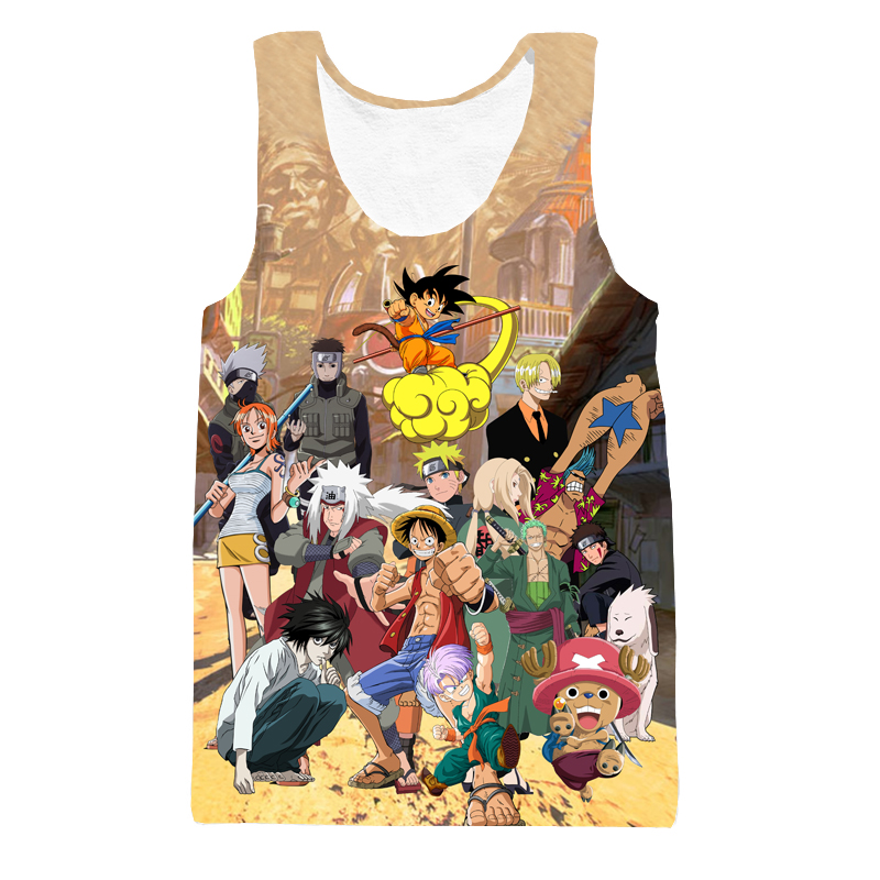 Klasik Anime Dragon Ball Z t shirt Tank Top Çocuk Goku/Luffy/Sevimli Chopper/Naruto/Zoro Paparazzi 3D t-shirt Yelek Tank Tops