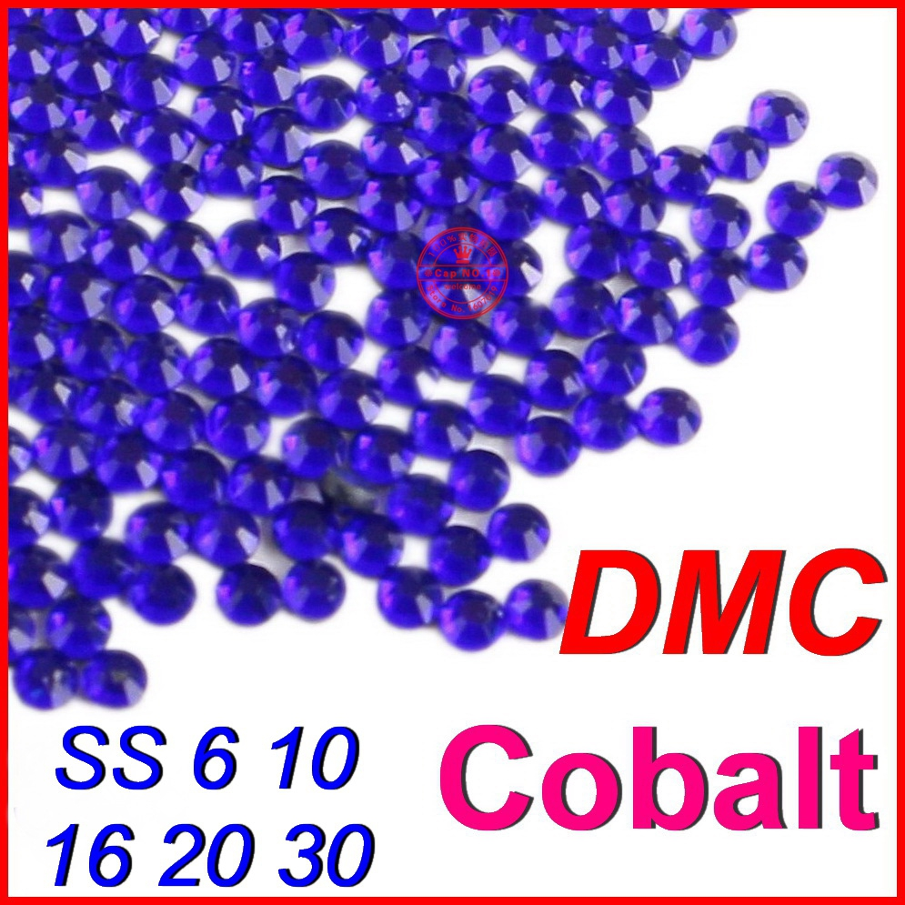 SS6 10 16 20 30 Top Quality! Clear Crystal DMC FlatBack Hot Fix Rhinestones Cobalt Blue DIY iron on heat glass for women Clothes