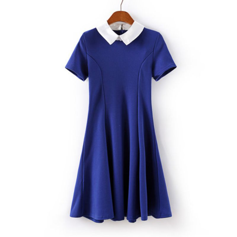 Semmer moda kadınlar dress vestidos peter pan yaka elbiseler parti kısa kollu black & blue dress okul sundress