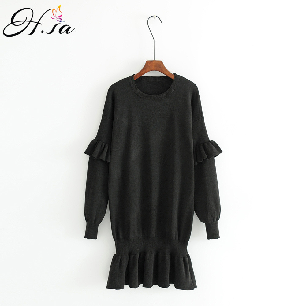 H.SA Women Long Knitted Sweater Dresses Oneck Ruffles Sleeve Women Sweater Jumpers pull femme Pullovers