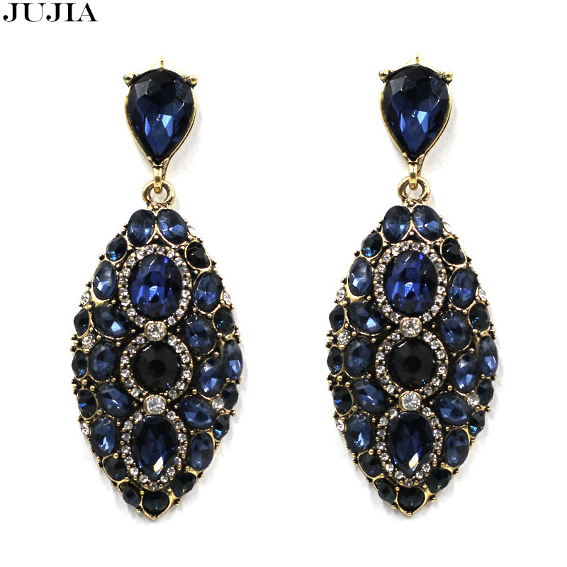 New Fashion Luxury Maxi Brand Black Crystal Geometric Gem Designer Vintage Statement Earrings For Women brincos