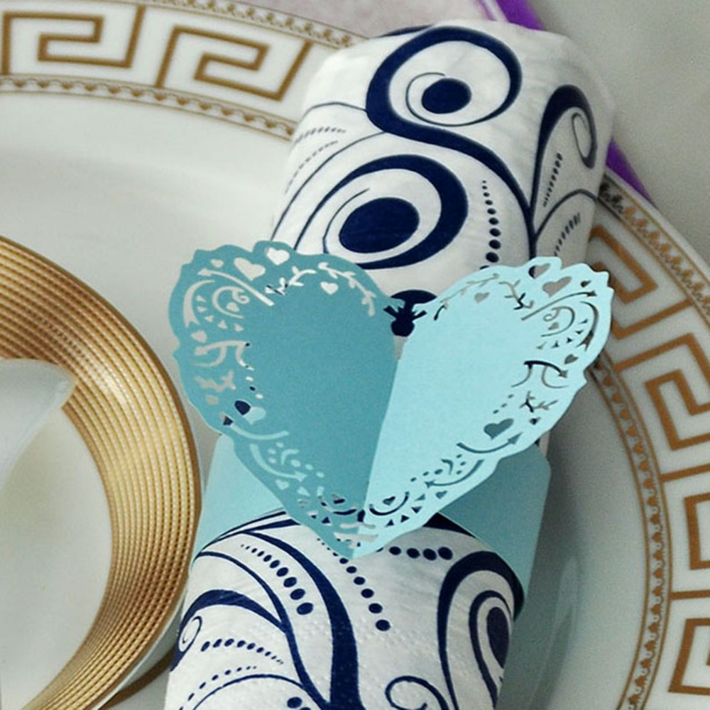120PCS Porta Guardanapo Sky Blue Hollow out Heart laser cut paper napkin Rings Holders Wedding Party Serviette Table Decoration