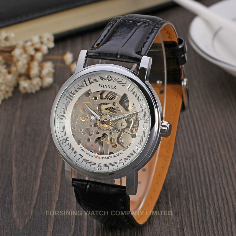 Winner Men&39;s Watch Skeleton Silver Color Dial Alloy Case Black Leather strap relogio feminino WRG8001M3S1